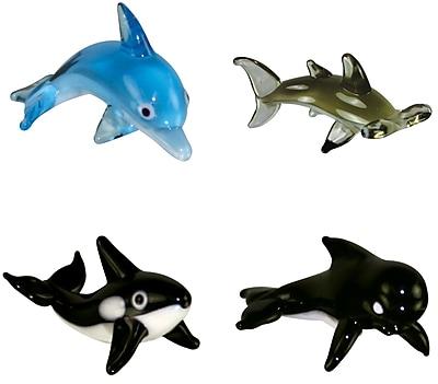 4 Piece Miniature BottlenoseDolphin, HammerHeadShark, Orca, PilotWhale