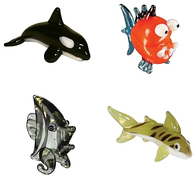 Looking Glass Figurines 4 Piece Miniature Orca, Piranha, AngelFish, TigerShark Figurine Set