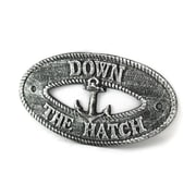 Handcrafted Nautical Decor Down the Hatch Sign Wall D cor; Antique Silver