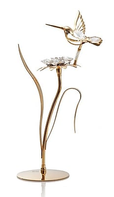 24K Gold Plated Beautifully Crafted Hummingbird w/ Flower Table Top Ornament Decorative Urn
