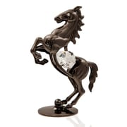 MatashiCrystal Charcoal Metal Plated Elegant Horse on a Pedestal Figurine