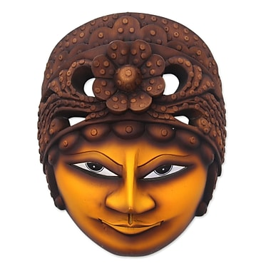 Novica Classic Javanese Singer Artisan Crafted Wood Mask Wall D cor