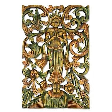 Novica Angel Greeting Teak Wood Relief Panel Wall D cor