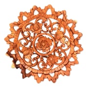 Novica Lotus Blossom Circle Artisan Hand Carved Floral Wood Relief Panel Wall D cor