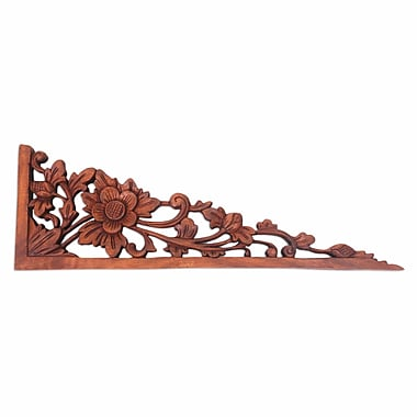 Novica Lotus Tendrils Balinese Hand Carved Lotus Blossom Wood Relief Panel Wall D cor