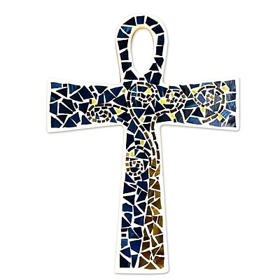 Novica Key to Eternity Glass Mosaic Ankh Cross Hand Crafted Wall D cor