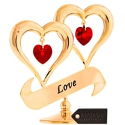 MatashiCrystal 24K Gold Plated Crystal Studded Love Inscribed Double Heart