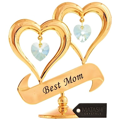 MatashiCrystal 24K Gold Plated Crystal Studded Double Heart w/ Best Mom Banner
