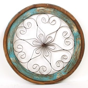 MyAmigosImports Chateau Round Architectural Window Wall Decor; Turquoise