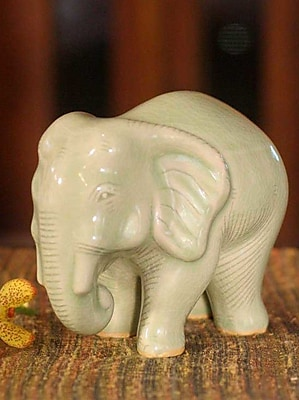 Novica Hand-Crafted Celadon Ceramic Figurine