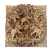 Novica Hand Carved Three Dimensional Elephant Wood Wall D cor
