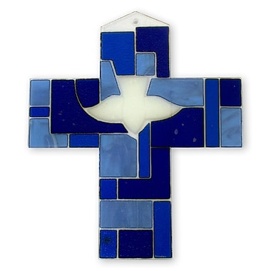 Novica Hand Crafted Blue Glass Cross w/ Holy Ghost Religious Wall D cor