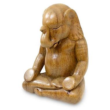 Novica Nengah Sudarsana Elephant Meditates Hand Carved Wood Sculpture