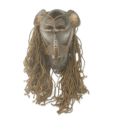 Novica Baule Gbekre II Unique Hand Carved Wood and Jute African Monkey Mask Wall D cor