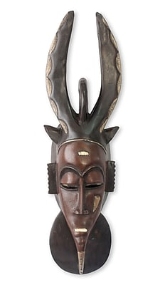 Novica Guro Horned Protector Authentic African Mask Wall D cor