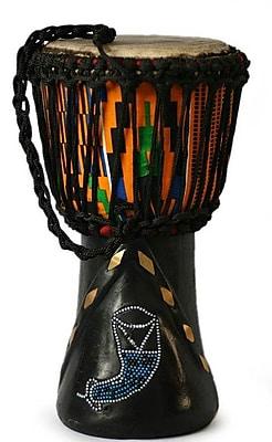 Novica Handmade Wood Djembe Drum Sculpture