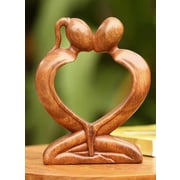 Novica Hand-Crafted Indonesian Romantic Wood Sculpture