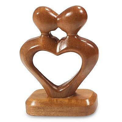 Novica Hand Carved Heart Shaped Mahogany Wood Sculpture