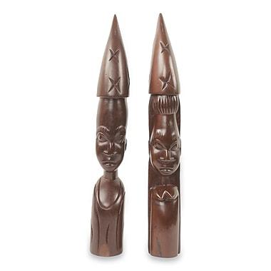 Novica Zulu Man and Woman 2 Piece Figurine Set