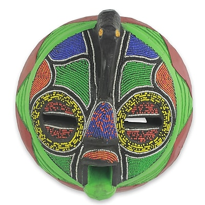 Novica Unique Hand Beaded Colorful Wood Mask Wall D cor