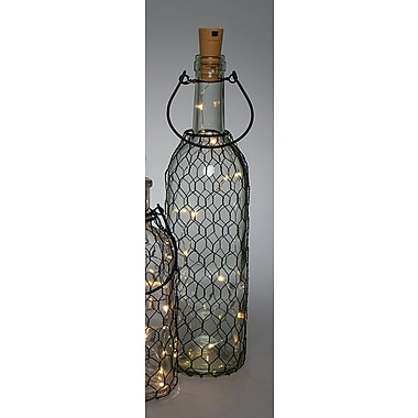 The Gerson Companies Battery Operated Lighted Bottle w/ Wire Net 13'' Table Lamp
