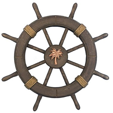 Handcrafted Nautical Decor Decorative Ship Wheel w/ Palm Tree Wall Decor; Antique