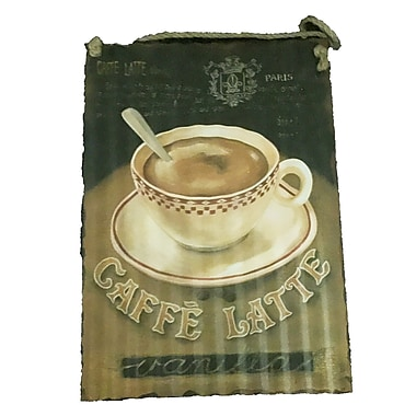 Creative Motion Decorative Metal Plate in Caffe Latte and a Coffee Cup Design