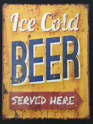 Creative Motion Decorative Metal Plate in Ice Cold Beer Served Here