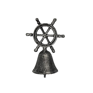 Handcrafted Nautical Decor Cast Iron Ship Wheel Hand Bell; Rustic Silver