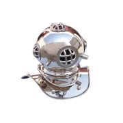 Handcrafted Nautical Decor 9'' Antique Brass Decorative Divers Helmet Wall D cor; Chrome