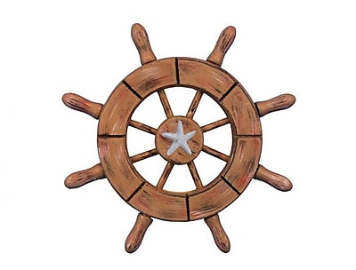 Handcrafted Nautical Decor 6'' Decorative Ship Wheel w/ Starfish; Wooden