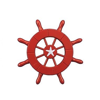 Handcrafted Nautical Decor 6'' Decorative Ship Wheel w/ Starfish; Red