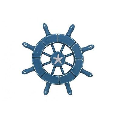 Handcrafted Nautical Decor 6'' Decorative Ship Wheel w/ Starfish; Light Blue