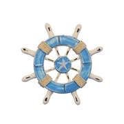 Handcrafted Nautical Decor 6'' Decorative Ship Wheel w/ Starfish; Light Blue / White