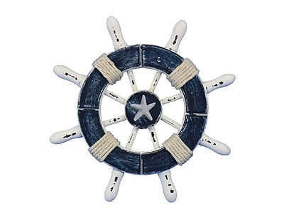 Handcrafted Nautical Decor 6'' Decorative Ship Wheel w/ Starfish; Dark Blue / White
