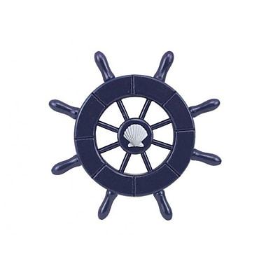 Handcrafted Nautical Decor 6'' Decorative Ship Wheel w/ Seashell; Dark Blue