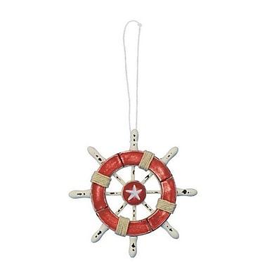 Handcrafted Nautical Decor 6'' Decorative Ship Wheel w/ Seashell; Red / White