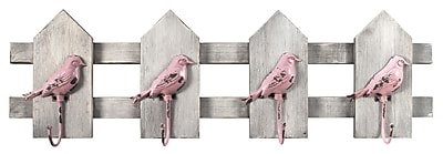 MCSIndustries Birds on a Picket Fence Wall D cor; Pink