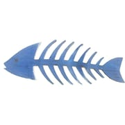 Handcrafted Nautical Decor Wooden Fishbone Wall Decor; Rustic Dark Blue