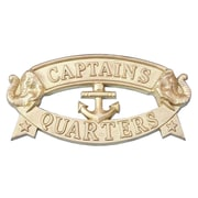 Handcrafted Nautical Decor 'Captain and Apos's Quarters Sign' Wall Decor; Solid Brass