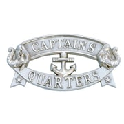 Handcrafted Nautical Decor 'Captain and Apos's Quarters Sign' Wall Decor; Chrome