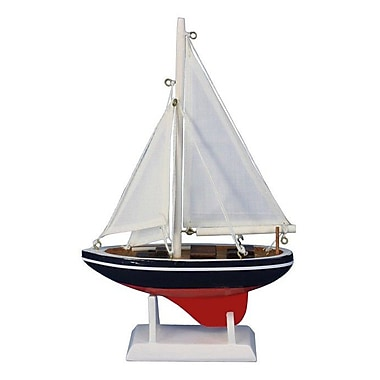 Handcrafted Nautical Decor American Sailer 9'' Wooden Model Sailboat