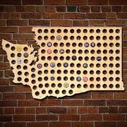 Home Wet Bar Giant XL Washington Beer Cap Map Wall D cor