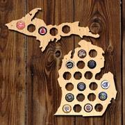 Home Wet Bar Small Michigan and Upper Peninsula Beer Cap Map Wall D cor