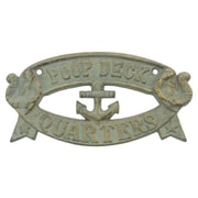 Handcrafted Nautical Decor Cast Iron Poop Deck Quarters Sign Wall D cor; Seaworn Bronze