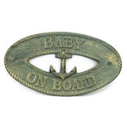 Handcrafted Nautical Decor Baby on Board Sign Wall D cor; Antique Bronze