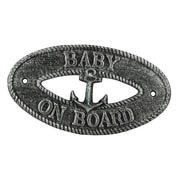 Handcrafted Nautical Decor Baby on Board Sign Wall D cor; Silver
