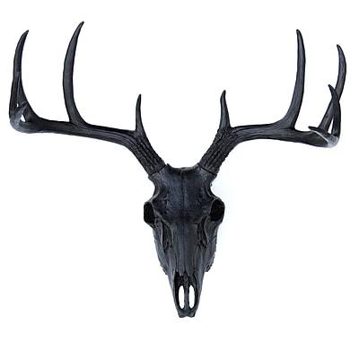 Near and Deer Faux Taxidermy Buck Skull Wall D cor; Black