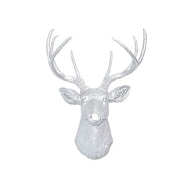 Near and Deer Faux Taxidermy Deer Head Wall D cor; Metallic Silver