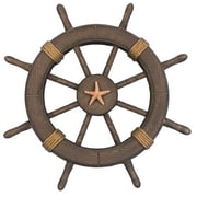 Handcrafted Nautical Decor Decorative Ship Wheel w/ Starfish Wall D cor; Antique